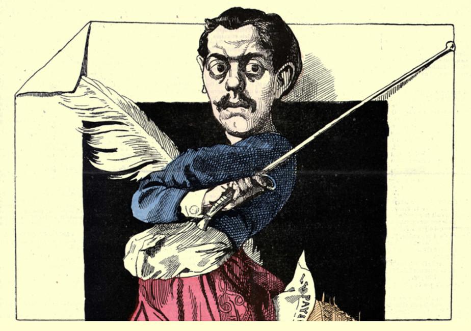 Карикатура сизображением французского политического деятеля ижурналиста Поля Гранье деКассаньяка.