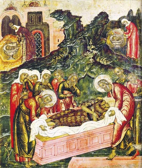 «Положение вогроб Иоанна Предтечи» Клеймо иконы «Иоанн Предтеча Ангел Пустыни». Ученики хоронят обезглавленное тело, втовремя как Иродиада любуется наголову (левый угол), аеёслужанка прячет еёвпещере (правый угол)