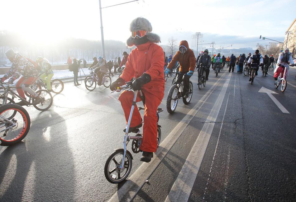 Московский зимний велопарад. Фото: Никеричев Андрей/ Агенство городских новостей Москва