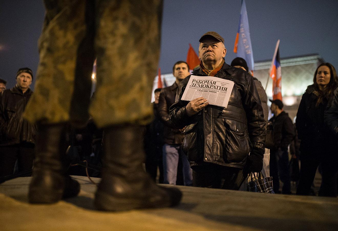 Во время акции «Стратегия 31» на Триумфальной площади, 2014 год.