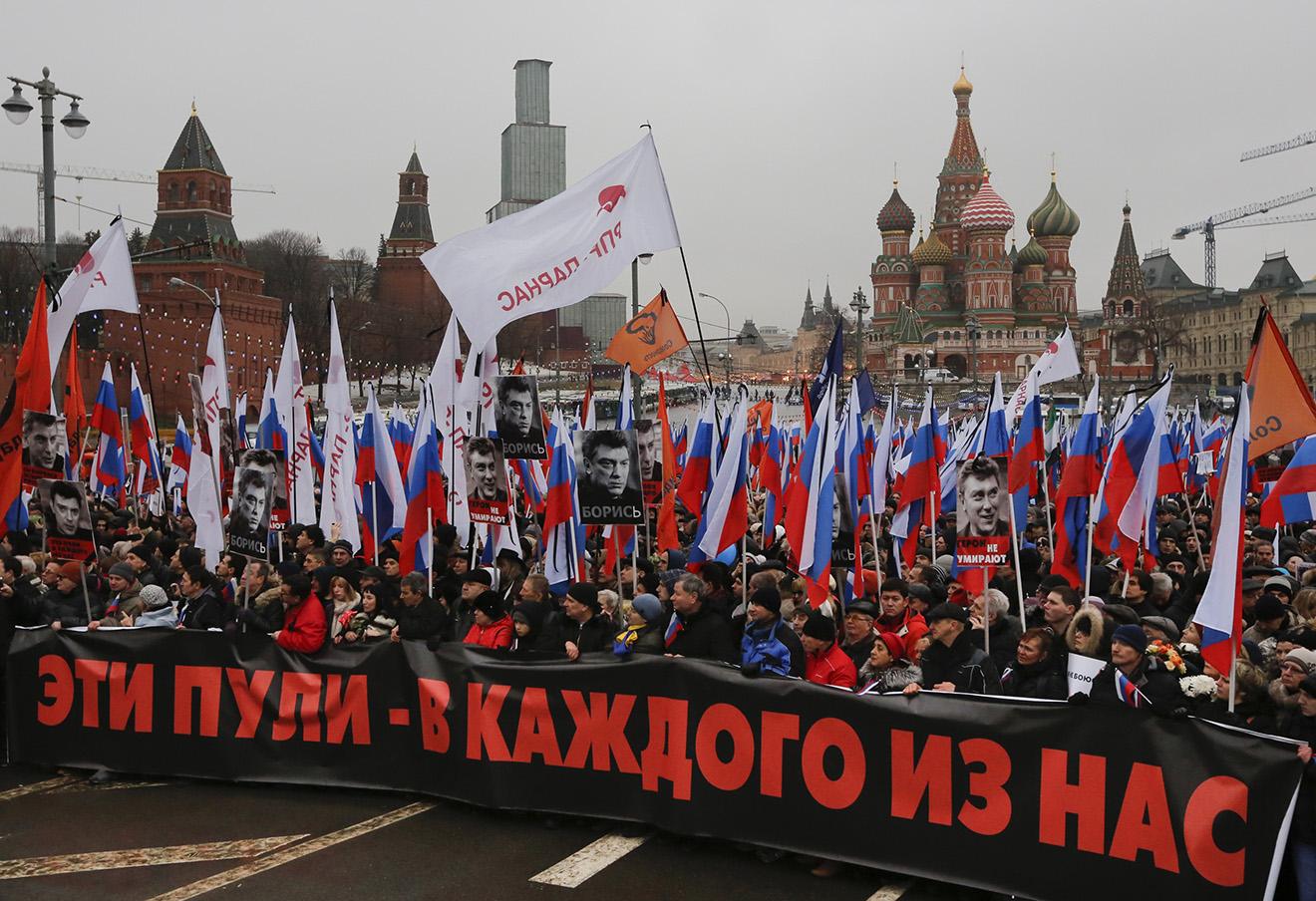Марш памяти Бориса Немцова, 27 февраля 2016 год. Фото: Дмитрий Ловецкий / AP / East News