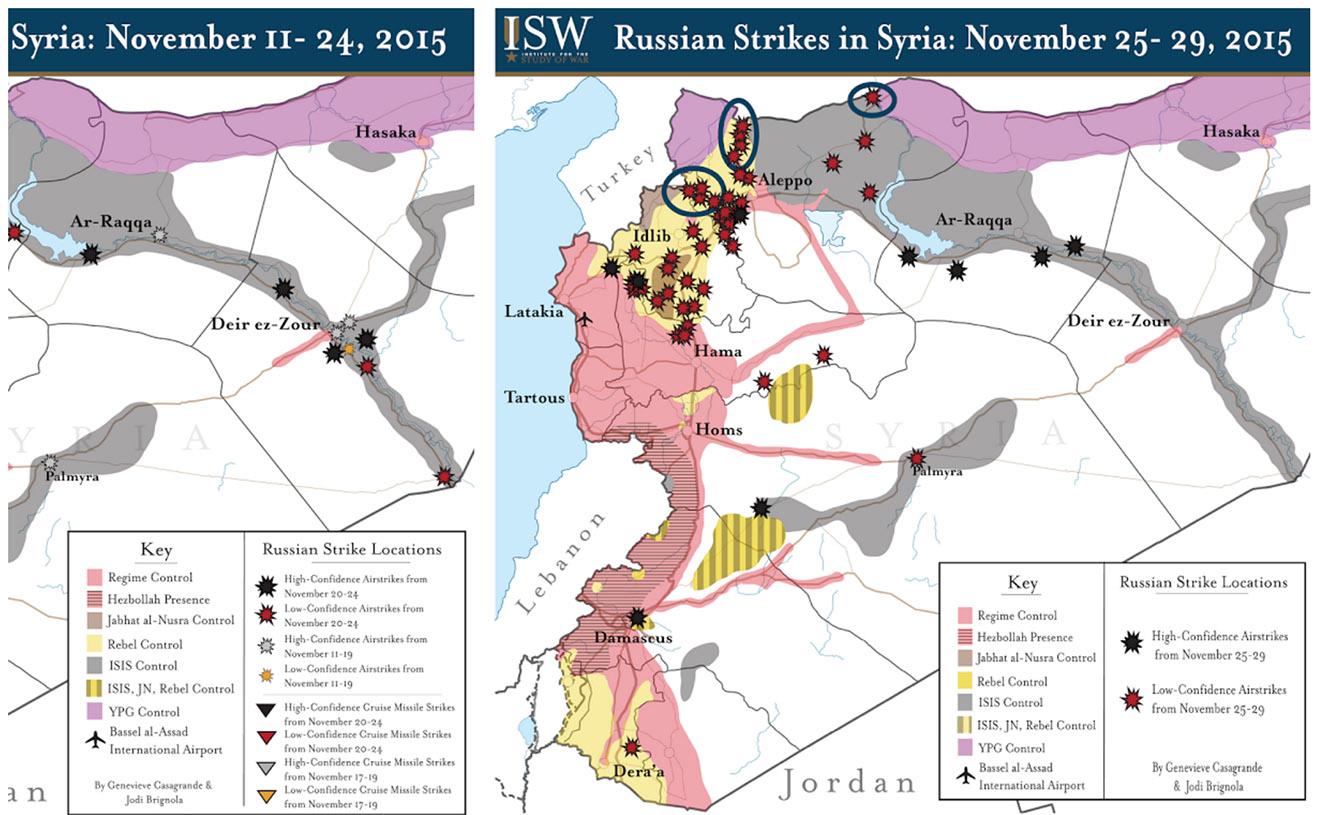 Российские авиаудары в Сирии по оценке Института военных исследований.