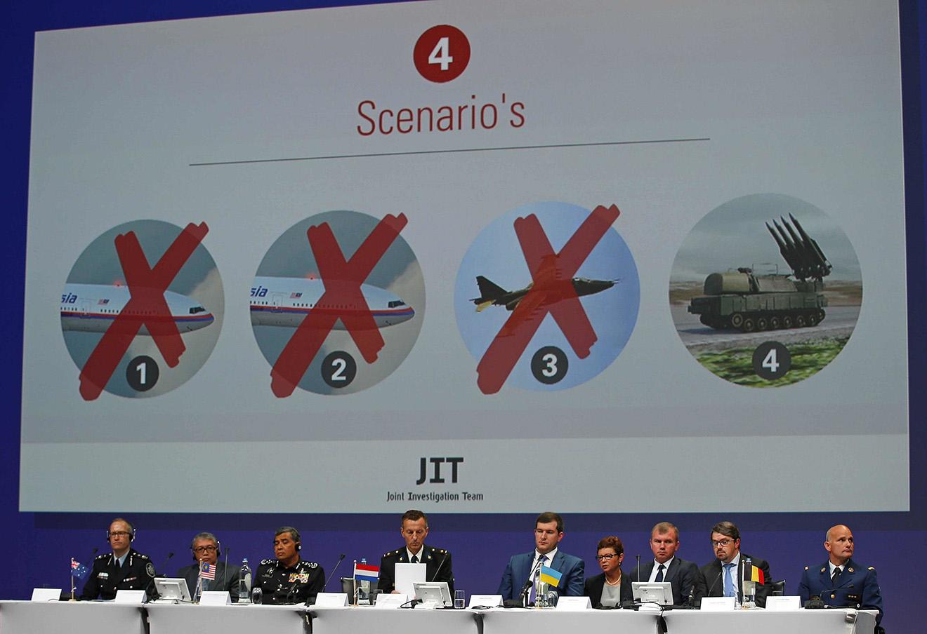 Пресс-конференция международной следственной группы по расследованию катастрофы малайзийского Boeing. Ньювейген, Нидерланды, 28 сентября 2016. Фото: Peter Dejong / AP / East News