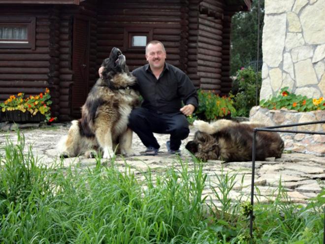 Алексей Бухаровский со своими собаками. Фото: из личного архива