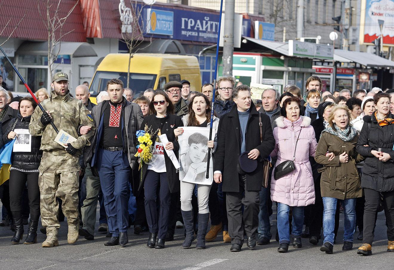 Митинг в поддержку Надежды Савченко в Киеве, 6 марта 2016 года.