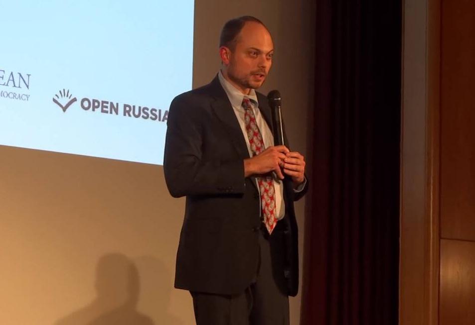 Владимир Кара-Мурза во время выступления на Форуме Бориса Немцова. Кадр: Youtube