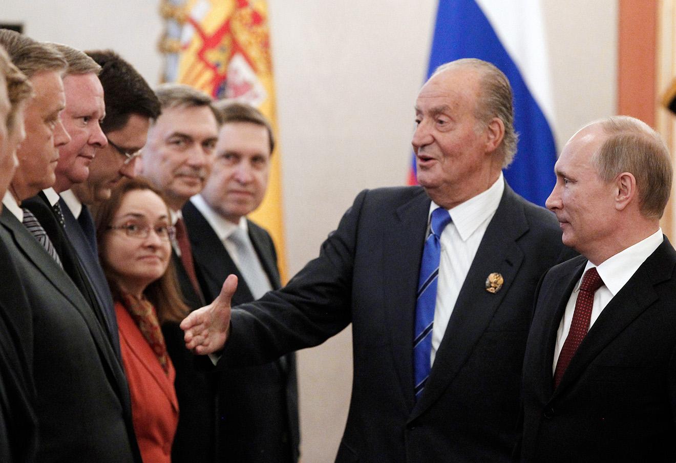 Король Испании Хуан Карлос и Владимир Путин в Кремле.