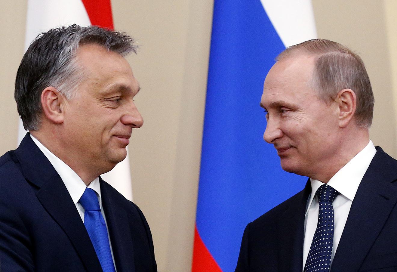 Виктор Орбан и Владимир Путин. Фото: Максим Шипенков / AP