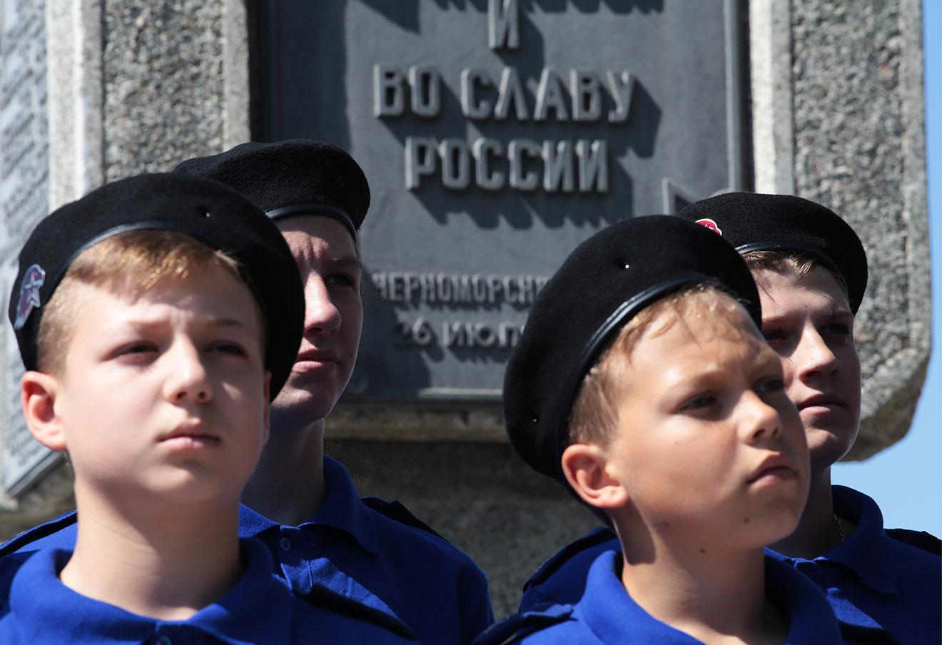 Во время посвящения учащихся спортивных школ в молодежное военно-патриотическое движение «Юнармия» на территории спортивного комплекса Черноморского флота.