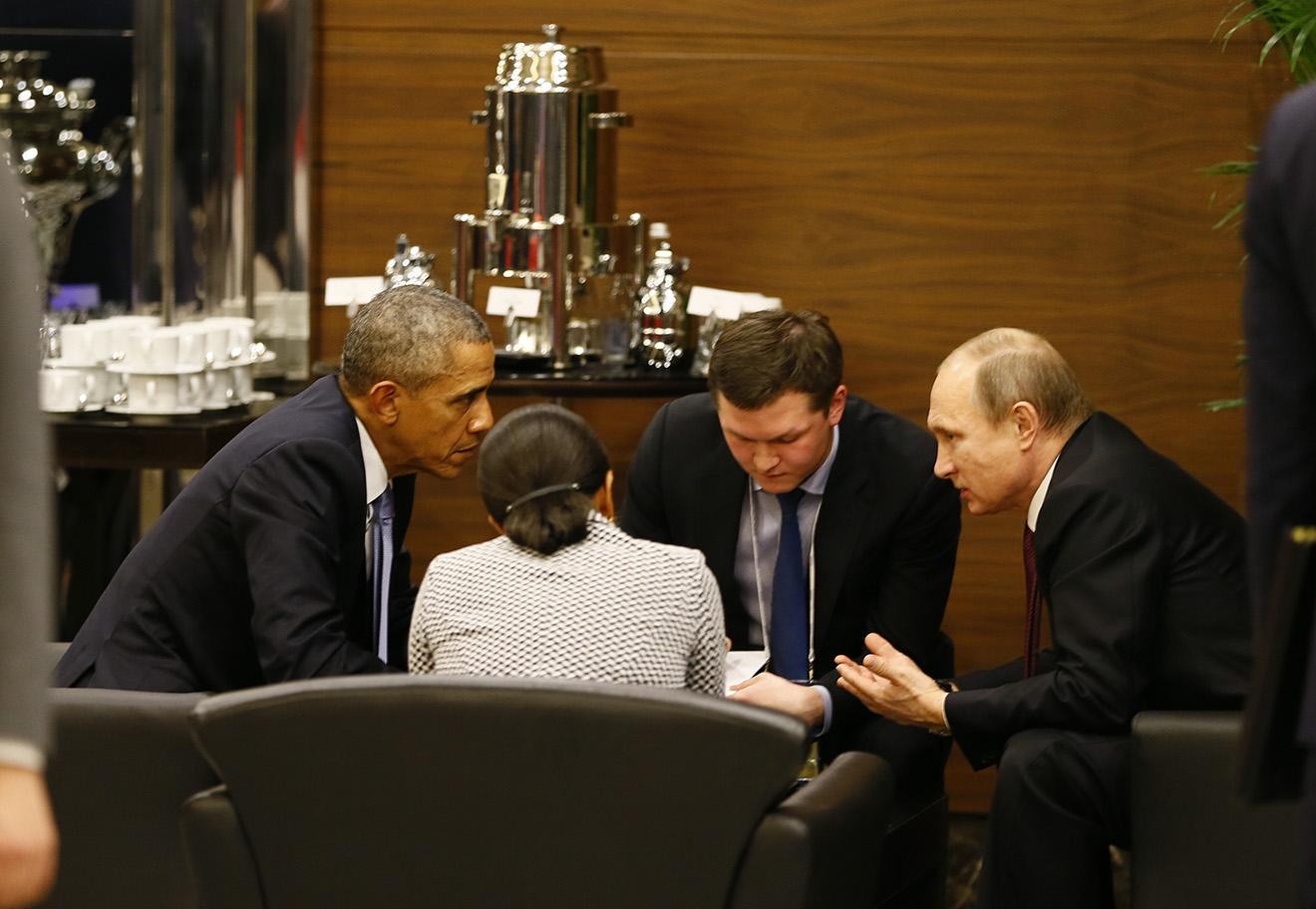 Барак Обама и Владимир Путин, 15 ноября 2015 года.