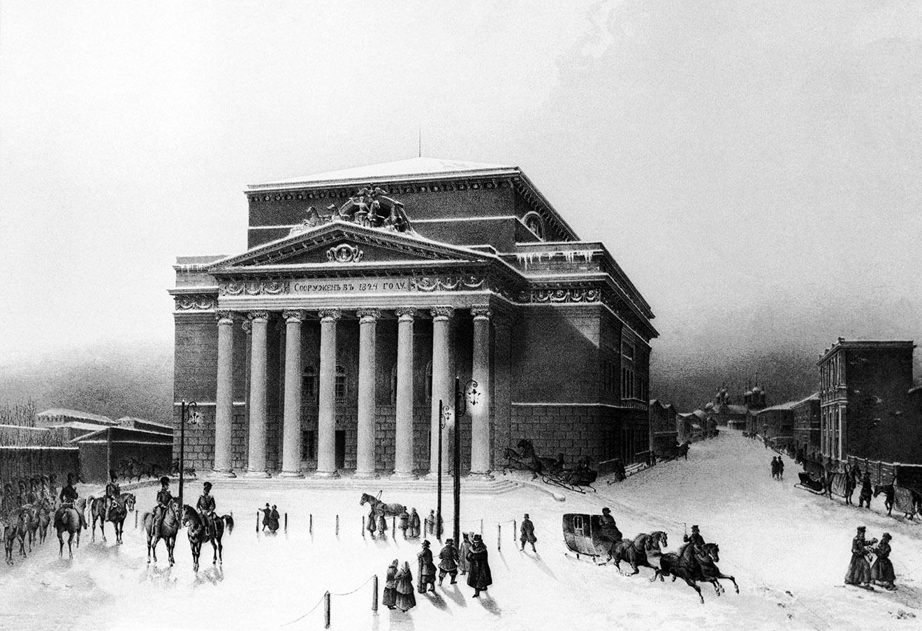 Большой театр, XIX век. Гравюра, выполненная по рисунку с натуры художника Вивьена. Фотохроника ТАСС