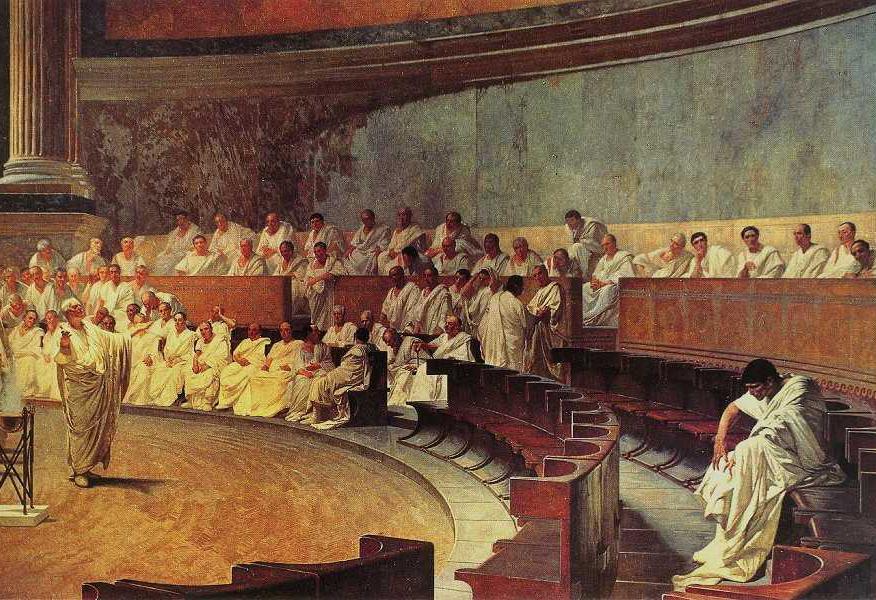 Цицерон произносит речь против Катилины в Римском Сенате. Художник: Чезаре Маккари, 1882—1888