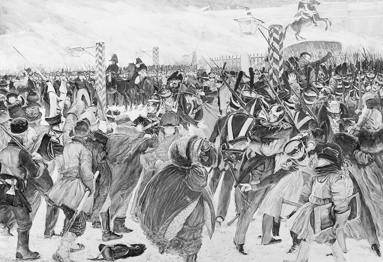 Картина «Декабристы на Сенатской площади». Фотохроника ТАСС