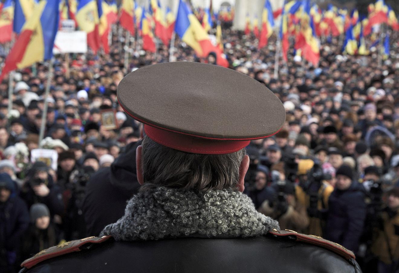 Акция протеста в Кишиневе, 24 января 2016 года.