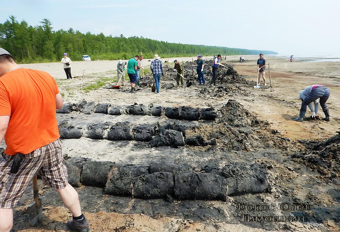 Жители Северобайкальска очищают побережье от спирогиры. Фото: Олег Тимошкин