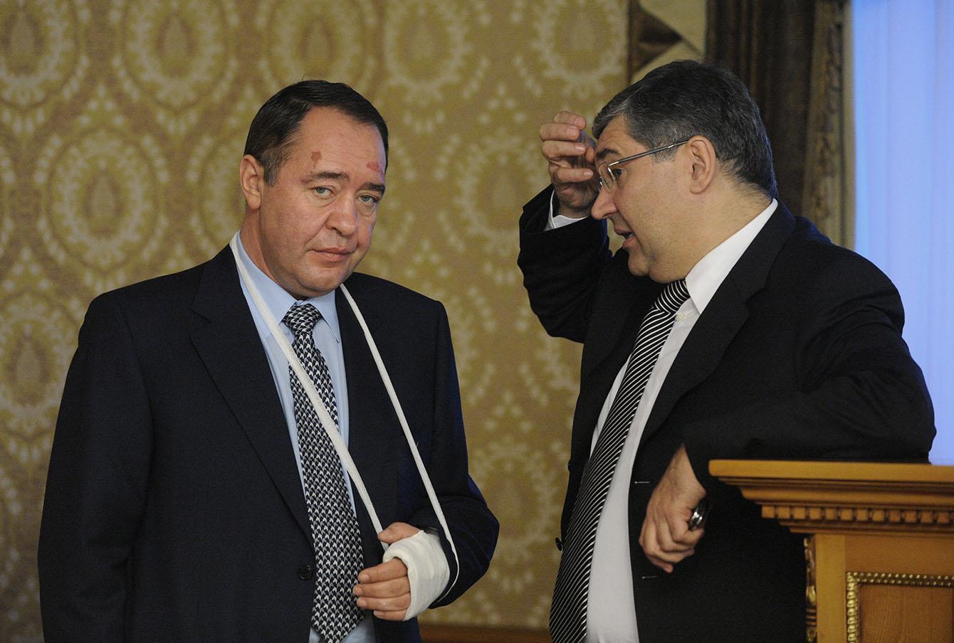 Первый зампред ВГТРК Михаил Лесин с главой ВГТРК Олегом Добродеевым, 2007 год.