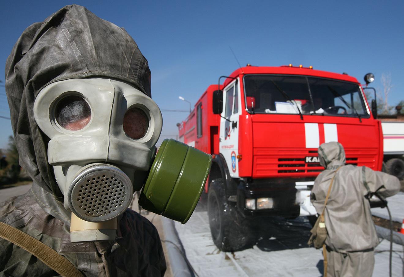Тренировка по гражданской обороне. Фото: Виктор Погонцев / ТАСС