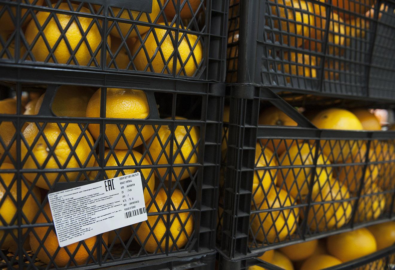 Апельсины турецкого производства в одном из супермаркетов Москвы, 2015 год.