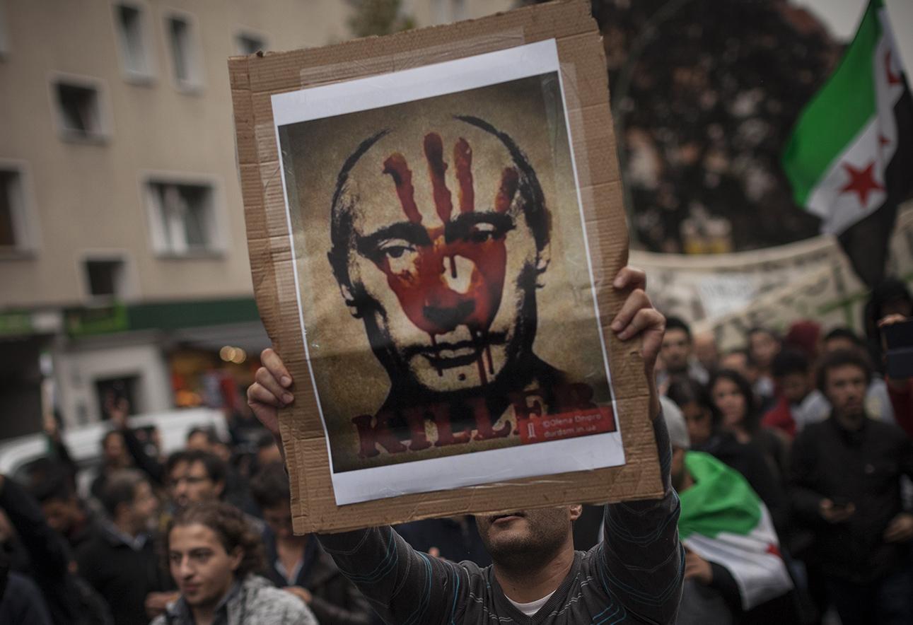 Протест против российской операции в Алеппо, Берлин, 1 октября 2016. Фото: Janos Chiala / ТАСС