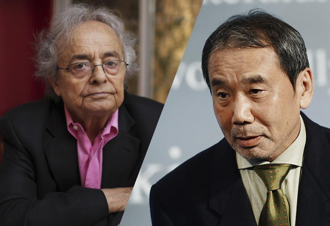 Номинанты Нобелевской премии по литературе Али Ахмад Саид Асбар (Адонис) и Харуки Мураками. Фото: AP / East News
