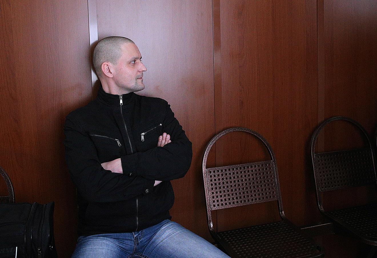 Сергей Удальцов перед оглашением приговора в Мосгорсуде, 2014 год.