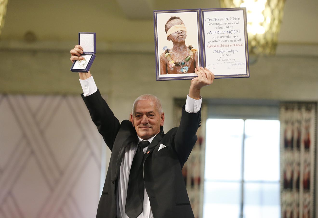 Член Tunisian National Dialogue Quartet Хусин Абасси на церемонии вручения Нобелевской премии мира в Осло,12 декабря 2015. Фото: Cornelius Poppe / AP / East News