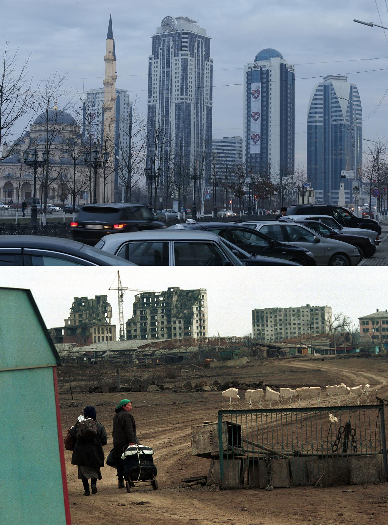 Центр Грозного. Сейчас и 15 лет назад.