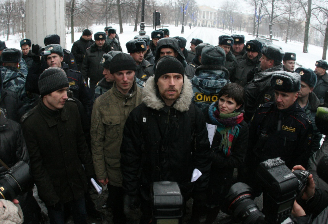 Митинг против новой системы дорожных сборов «Платон» в Санкт-Петербурге у Смольного.