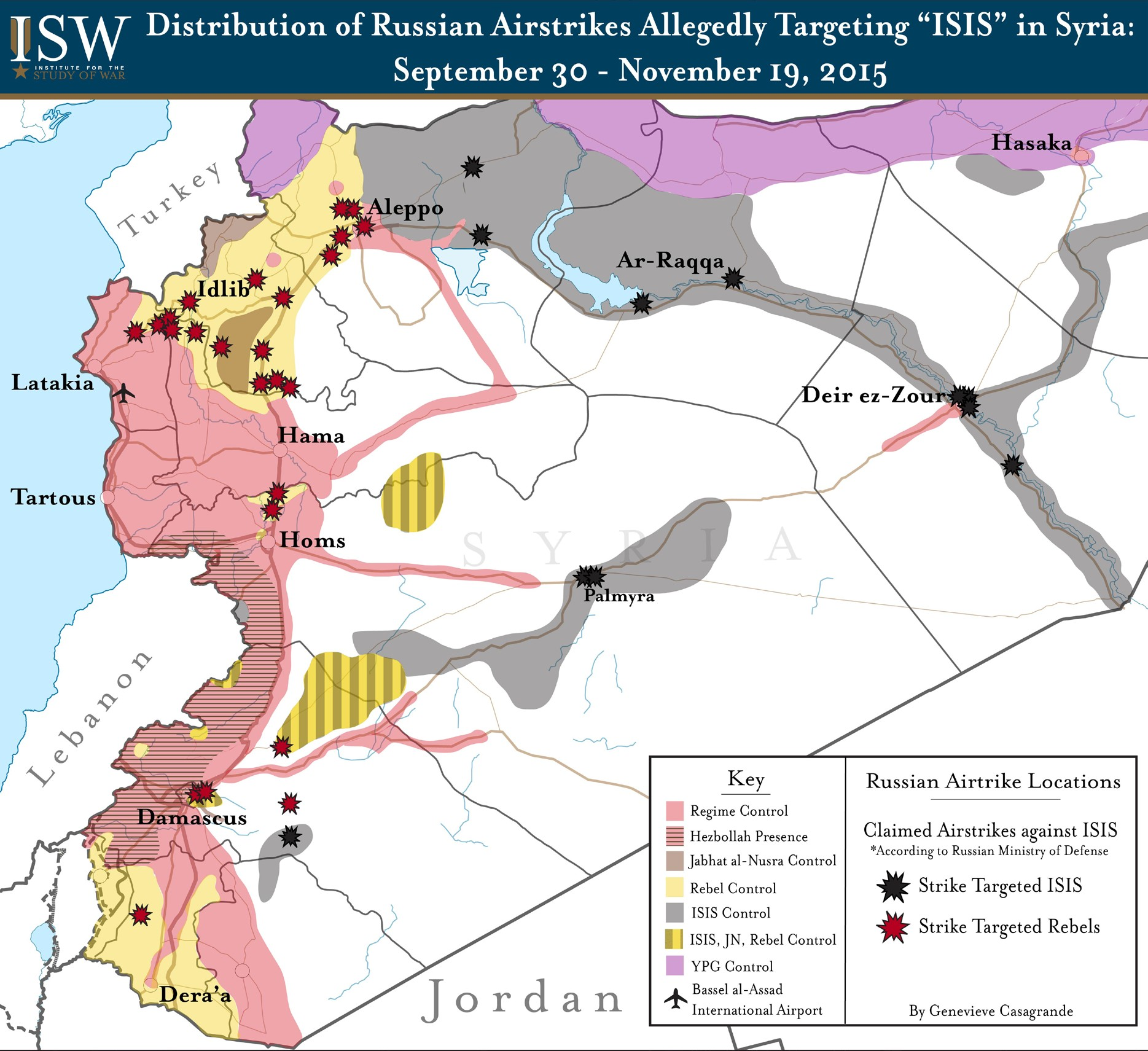 Распределение российских авиаударов, якобы направленных против ИГИЛ в Сирии. 30 сентября — 19 ноября 2015 года.