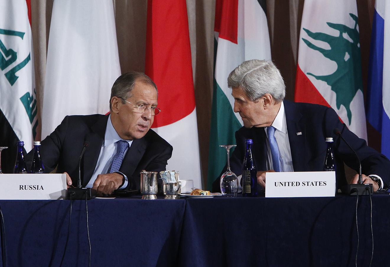 Сергей Лавров и Джон Керри во время встречи международной группы поддержки Сирии. Нью-Йорк, 22 сентября, 2016 год. Фото: Jason DeCrow / AP / East News
