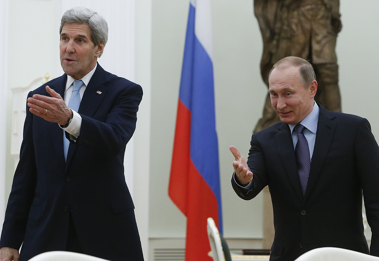 Джон Керри и Владимир Путин, 15 декабря 2015 года.