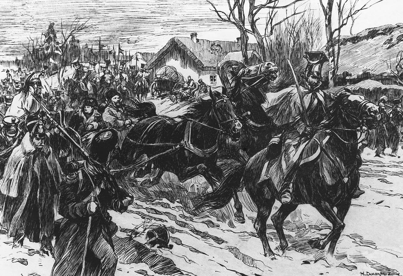 Картина «Наполеон оставляет армию в Сморгони 3 ноября 1812 года» (Николай Самокиш, 1912 год). Репродукция Фотохроники ТАСС