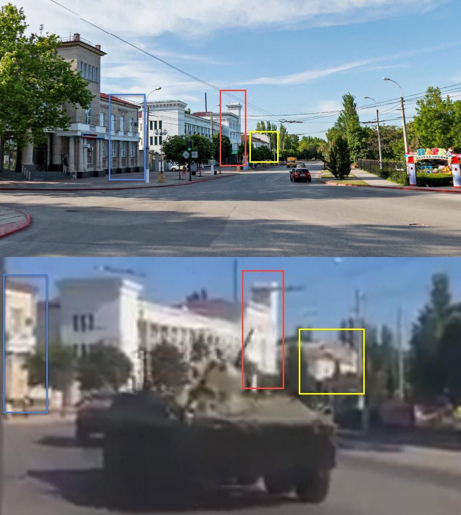 Сравнение панорамы Яндекса и кадра из видео, показывающего проход колонны БТР по улице Кирова в центре Керчи
