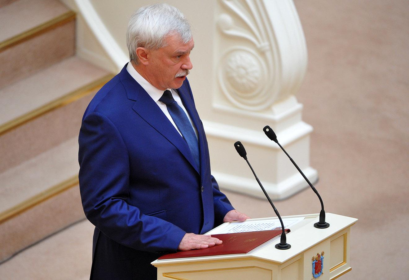 Переизбранный губернатор Санкт-Петербурга Георгий Полтавченко во время церемонии официального вступления в должность в зале Законодательного собрания Санкт-Петербурга, 2014 год.