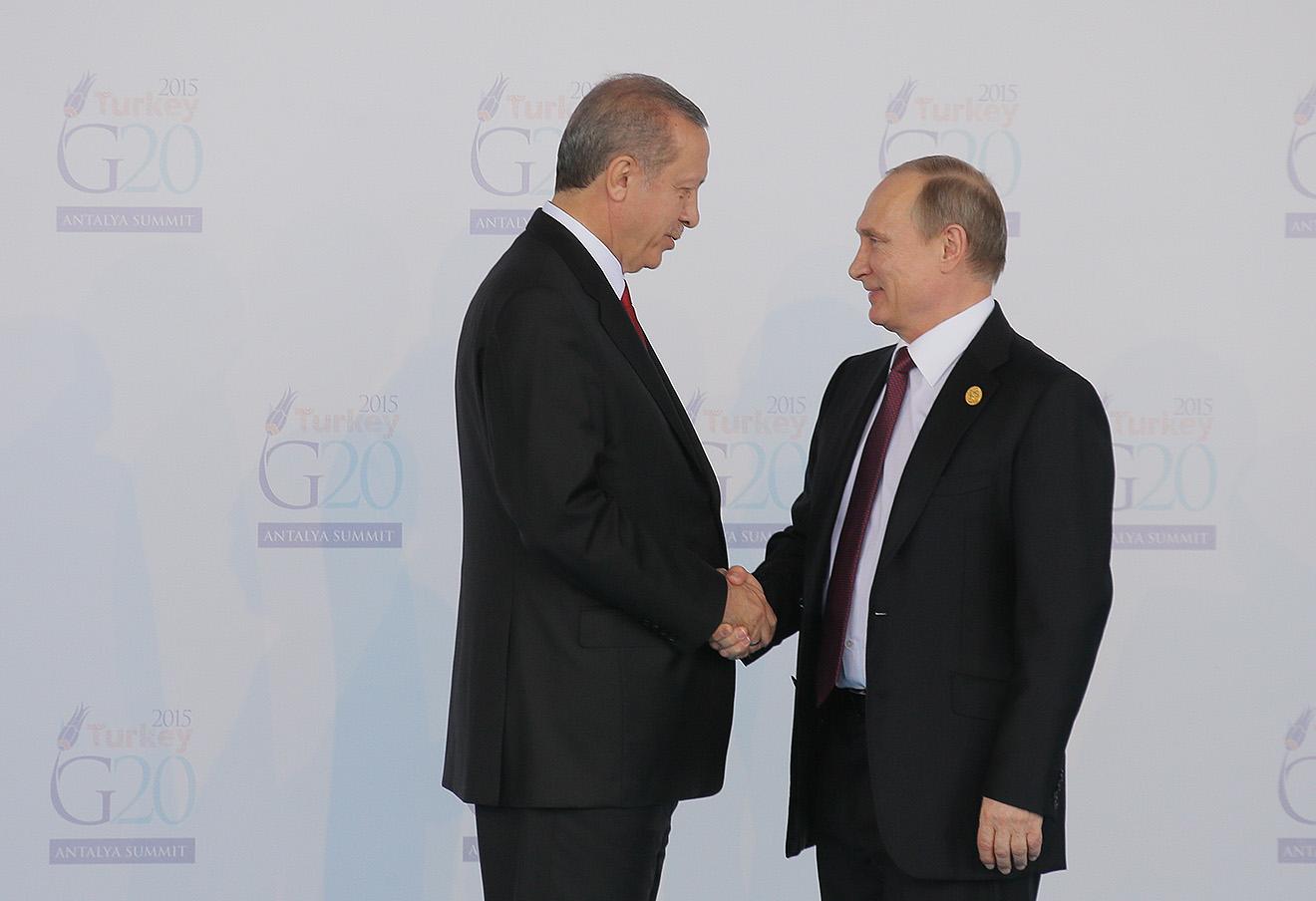 Реджеп Тайип Эрдоган и Владимир Путин, 2015 год.