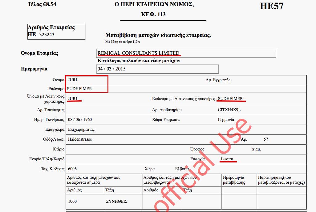 Выписка из торгового реестра Кипра с упоминанием Юрия Зудхаймера как лица, контролирующего компанию