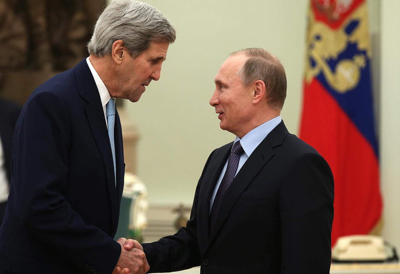 Джон Керри и Владимир Путин.