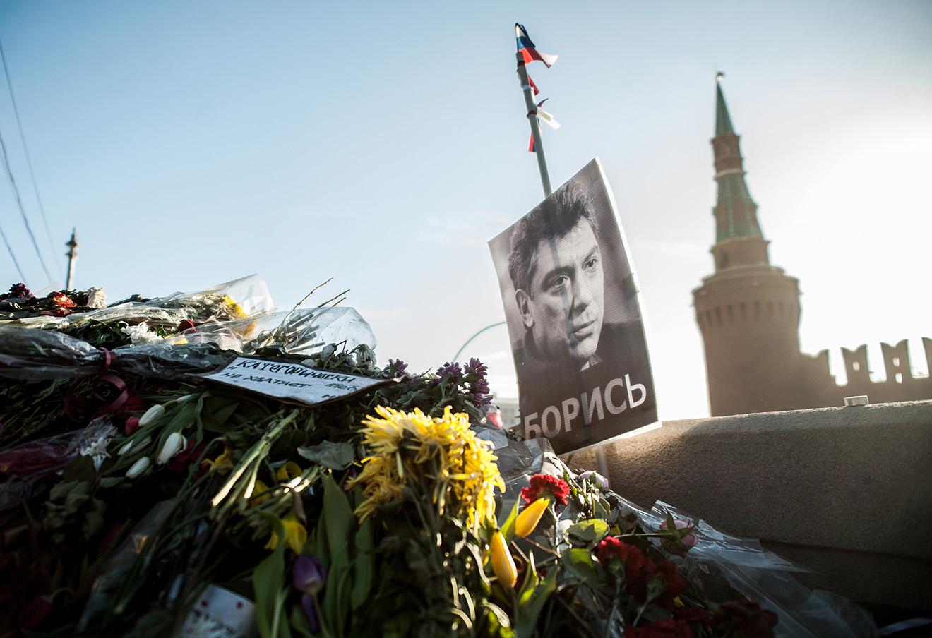 На месте убийства Бориса Немцова на Большом Москворецком мосту.