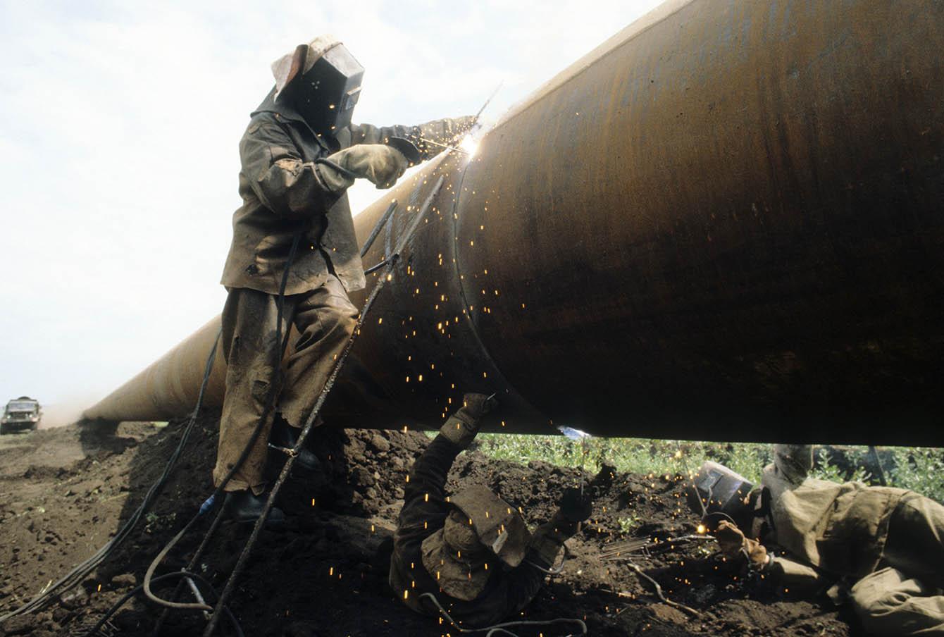 Сварка газопровода в Башкирии, 1982 год.