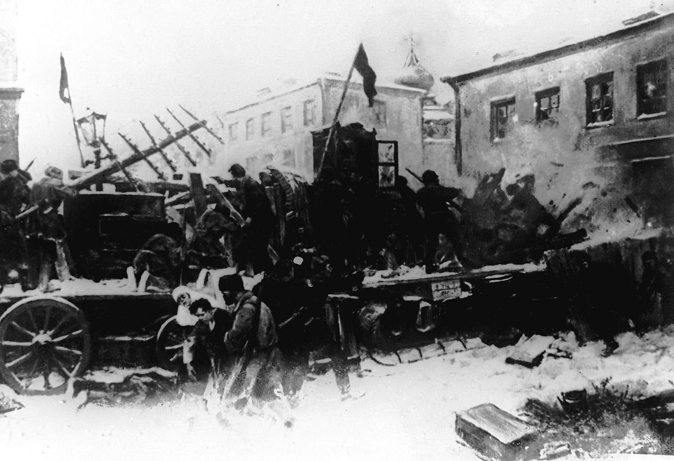 Бой дружинников на Красной Пресне в декабре 1905 года.
