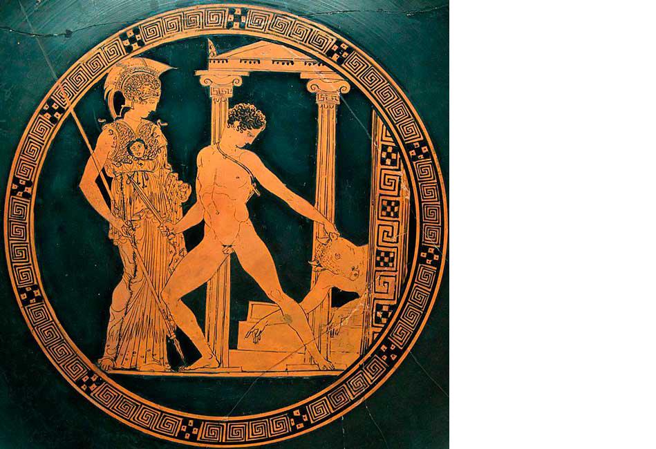 Тесей убивает Минотавра. Рисунок на древнегреческой вазе. Фото: Marie-Lan Nguyen