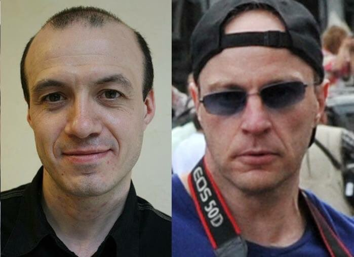 Сергей Ахметов (слева) и неизвестный участник народного схода на Манежке